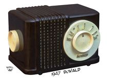 Radio Plaskon-Bakelite - DeWald  Model 410  brown bakelite with white trim midget table top radio manufactured by DeWald Radio Manufacturing Corp. in (1941)
