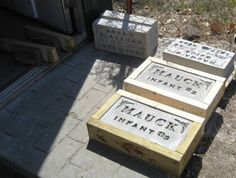 Headstone Making | making grave markers | Cemetery headstones, Cemetary decorations, Grave decorations