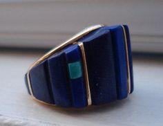 Vintage-Native-American-Hopi-Charles-Loloma-14K-Gold-Lapis-Turquoise-Ring