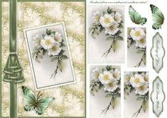 Vintage White Roses Postcard Pyramid Card on Craftsuprint designed by Karen Adair - This is an A5 sized card front, with a pretty vintage postcard of white Roses. A satin ribbon trim and butterfly embellish. Two sentiment tags are included. If you like this check out my other designs, just click on my name. - Now available for download!