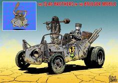 Como seriam os personagens da Corrida Maluca em um universo no estilo Mad Max? - Já imaginou Dick Vigarista, Penélope Charmosa e outros personagens da Corrida Maluca em um universo estilo Mad Max? Confira as criativas ilustrações de Mark Sexton.