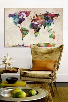 World Map Urban WatercoloreII by Michael Tompsett Canvas Wall Art