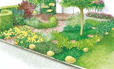 Dank geschickter Aufteilung und abwechslungsreicher Bepflanzung bietet dieser bisher ziemlich langweilige Vorgarten Ihren Gästen schon bald einen geschmackvollen Empfang. (Pflanzplan als PDF zum Herunterladen und Ausdrucken)
