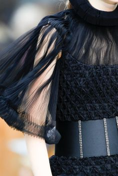 Chanel Fall 2013 Couture Details - the detailed sleeve on this LBD is pretty amazing.