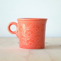 Fiesta Mug in Persimmon Homer Laughlin China Co. Orange Mug - LOVE this color and pattern!