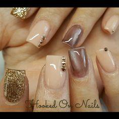 Nude nails gold nails cat eye nails madam glam gel swarovski crystals