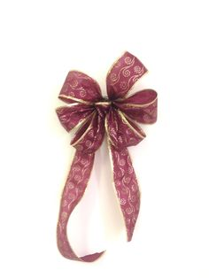 Christmas Burgundy Gold gift bow, wreath bow package decoration, pew bows, buffet table decor wired ribbon Set of 2