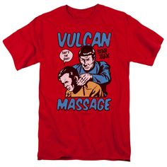 Submerge yourself in the world of Star Trek: Original Series with this Massage Adult T-Shirt. Now you can live out your fantasy and wear this officially licensed, red t-shirt made of 100% pre-shrunk c
