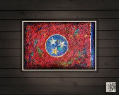 Tennessee State Flag Hand Painted Flag of Tennessee by ArtForLoft