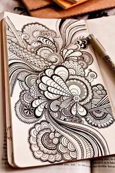 Zentangle by sweet.dreams This would look killer on a canvas.