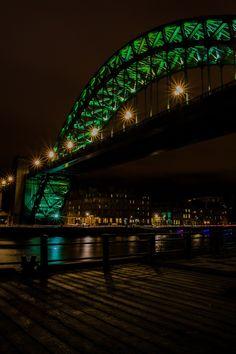 The Tyne Bridge at night.