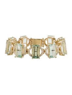 Green Amethyst and Diamond Bracelet w/ Tags