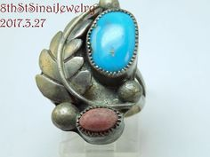 Early Unsigned Navajo Sterling Silver 925 Turquoise & Coral Ring Size 7