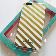 """Kate Spade hybrid iPhone 6 PLUS/ 6PLUS S NEW New in Box Kate Spade hybrid hardshell iPhone 6PLUS/ 6PLUS S 5.5"""". White with golden diagonal stripes and white bumper. Glossy finish. KS NYC stamp inside the case. 100% authentic. kate spade Accessories Phone Cases"""