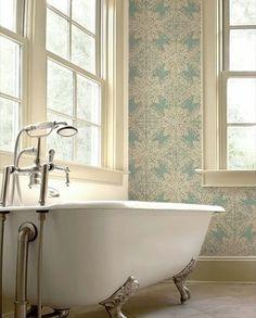Love the bathtub and the Zoffany wallpaper