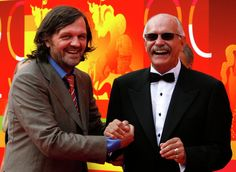 Sarajevo-born film director Emir Kusturica, left, and Russian film director and actor Nikita Mikhalkov, President of the Moscow International Film Festival, seen at the closing ceremony of the Moscow International Film Festival in Moscow