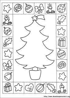 Kleurplaat: Kerstboom