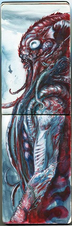 Cthulhu watercolor  By: marcopagnotta
