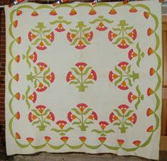 EARLY Vintage 1860's Coxcomb Red & Green Applique Antique Quilt ~Swag Border! | eBay