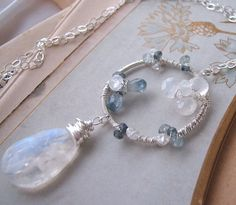 Sapphire  Moonstone sterling silver wire wrapped  pendant