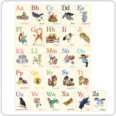 Animal ABC's Vintage Flashcards - 2 7/8 x 4 - Click Image to Close