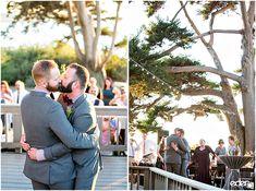 Same sex wedding first dance for outdoor reception at Martin Johnson House in La Jolla, CA. Birch Aquarium, Johnson House, Martin Johnson, Wedding First Dance, Family Events, La Jolla, Seaside, Reception, Ocean