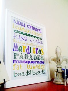 FREE printable Mardi Gras Subway Art.