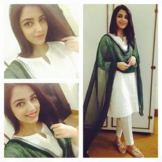 I hope you will be alright so I am here to provide you the best and beautiful dresses for Pakistan independence day of Pakistan. Here I will tell all about the best Pakistan Independence day dresses for girls 2019 that is very trending these days. Simple Dresses, Day Dresses, Girls Dresses, Cute Celebrities, Celebs, Pakistan Independence Day, Happy Independence, Kurta Patterns, Independance Day