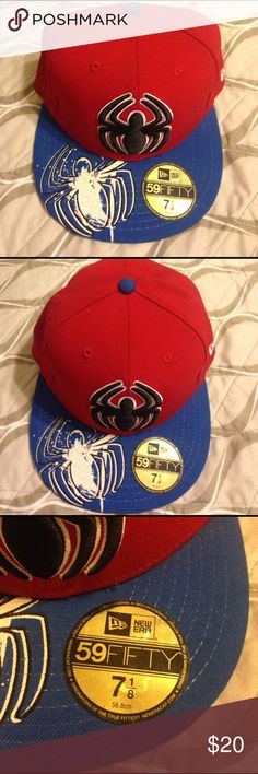Spiderman fitted cap hat 7 1/8 59 Fifty New Era In great condition Spider-Man fitted cap hat 71/8 59 Fifty  New Era 56.8cm. Used but in excellent condition. From smoke free home with fur baby 🐶 59 Fifty Accessories Hats