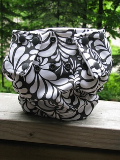 Cloth diaper I sewed from PUL in a black and white swirl with charcoal grey snaps and lined with dimple velour  #sew # diaper # cloth #homemade #baby #make #simplifi #simplififabric