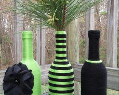 Yarn bottle set wine bottle set spring home decor by SiminaBanana