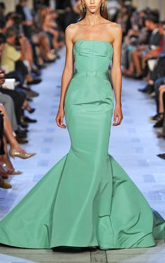 Zac Posen Celadon Green Mermaid Evening Gown