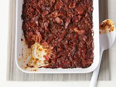 Traditional cowboy favorites (beef, bacon, beans and barbecue sauce) pick up a tangy kick with Worcestershire and soy sauce in this casserole.
