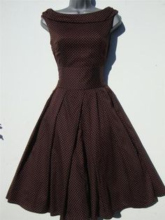brown polka dot rockabilly dress