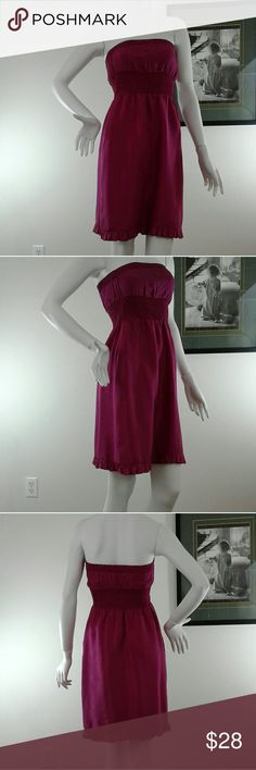 """Anthropology Mauve Dress Sz 0 100% Silk Maroon Anthropology Mauve Dress Sz 0 100% Silk Ruffles Elastic Band Chest Lined Casual Party   Gently Owned ~ Great Condition  * Chest 12"""" Laying Flat  * Length 27"""" Measurements are approximate   Fast Shipping Cach'e  Dresses Mini"""
