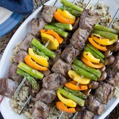 Italian Marinated Steak and Vegetable Kabobs are such a simple way to enjoy summer grilling! Beef and veggies are marinated in a simple Italian dressing, and then grilled to perfection. A great cookout recipe! Beef Kabob Recipes, Grilled Shrimp Recipes, Healthy Grilling Recipes, Gourmet Recipes, Appetizer Recipes, Dinner Recipes, Grilled Food, Party Recipes, Tzatziki