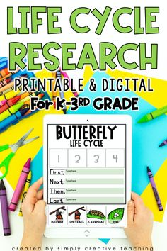 Conduct printable or digital (Google Slides) research on the life cycle of a butterfly, frog, chicken, ant or flower with this resource! Perfect for whether you're in the classroom or teaching remotely. These early elementary life cycle resources have everything you need including a planning page, charts, vocabulary, leveled reading passages, Cut/Glue/Write activities, KWL charts, research paper and MUCH MORE! Get this complete life cycle research for K-3 students today!