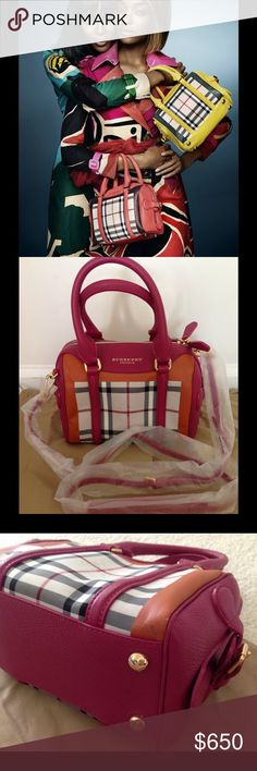 """Authentic Burberry bag 100% Authentic Burberry Mini - Bee bowling bag in tulip pink. Brand New item with a small manufacturing defects -show pics Burberry Mini Bee bag is one of the most eagerly anticipated handbags from the SS 2015 collection. Interior zip pocket, interior slip pocket 9""""L x 5.25""""W x 7""""H; 5"""" handle drop, 24 strap drop Outer fabric: Nylon; trim: calf grain leather; accessories: metal; lining: viscose; pocket lining: goat leather Made in Italy Come with original dust bag and…"""