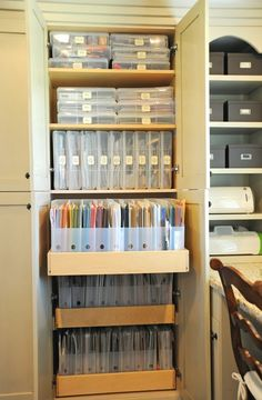 My Scrapbook Space and Storage Ideas - Being that the papers are in a cabinet also keeps them from light which can cause discoloration.