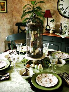 Easter Tablescape. Gorgeous! http://www.hgtv.com/entertaining/10-easy-tablescapes-for-easter/pictures/page-8.html?soc=pinterest