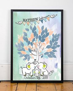 Poster Baby shower tree watercolor Guestbook for nursery with elephants and birds 65 sign on the leaves Custom your tree Choose your colors €35.00