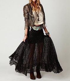Free People Two Tone Pieced Lace Maxi Skirt Black M in Clothing, Shoes & Accessories, Women's Clothing, Skirts | eBay Look Hippie Chic, Estilo Hippie Chic, Estilo Boho, Gypsy Style, Hippie Style, Bohemian Style, Hippie Boho, Boho Gypsy, Ethnic Style