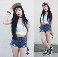 Mayara Pereira - Romwe White Cropped, Romwe Grey Shorts, Love Rockets Clothing Snapback Lrc - SUMMER STREET