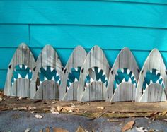 Upcycled Shark, made of recycled wood. JAWS, Great White, outdoor art for around the pool. Old Fence Wood, Old Fences, Shark Week, Shark Bedroom, Ocean Room, Shark Art, Wale, Outdoor Art, Recycled Wood