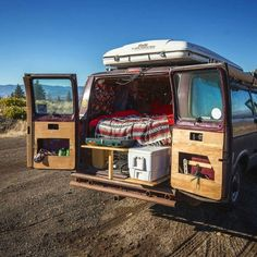 We converted the interior of the van, using only reclaimed wood pallets. I got them all free driving around to warehouses that were getting read of them. Dodge Ram Van, Chevy Van, Van Conversion Interior, Camper Conversion, Minivan Camping, Camping Life, Diy Camper, Camper Ideas, Camper Van Life