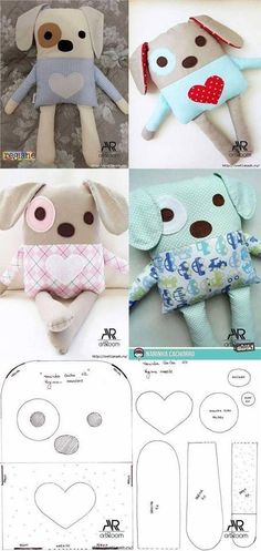 Animal Sewing Patterns, Stuffed Animal Patterns, Doll Patterns, Doll Crafts, Diy Doll, Sewing Crafts, Baby Sewing Projects, Sewing For Kids, Fabric Animals