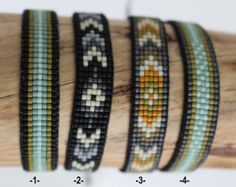 Woven, Matt miyuki Beads Bracelet closes with a cord in nylon adjustable and adjustable depending on the size of your wr Loom Bracelet Patterns, Bead Loom Bracelets, Woven Bracelets, Loom Patterns, Bracelet Designs, Bracelets For Men, Beading Patterns, Diamond Bracelets, Bijoux Diy