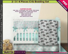 Crib Bedding Photoshop Fabric Mockup F-A4CBS2 PNG Movable