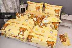 Yellow Rilakkuma Bedding Set Twin/ Full/ Queen Rilakkuma Bed Sheets With Strips 100% Cotton Duvet Cover Set 5 Pieces-in Bedding Sets from Home & Garden on Aliexpress.com | Alibaba Group