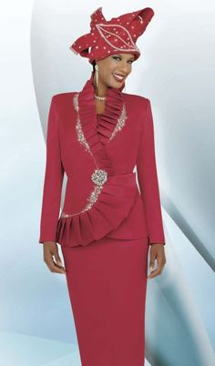 women's church suits and hats   BenMarc International 47226 Womens Red Church Suit image